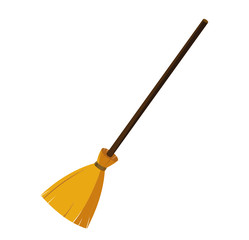 Halloween. Broom from branches on a wooden handle. An accessory of a witch. Vector