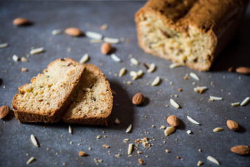 Almond bread on dark background