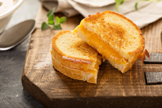 Grilled cheese sandwiches with white bread and cheddar