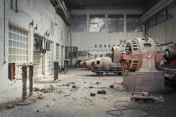 Autocollant pour porte Les vieux bâtiments abandonnés Factory Hall