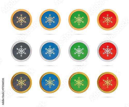 Schneeflocke Christbaumschmuck Buttons Set Bronze Silber