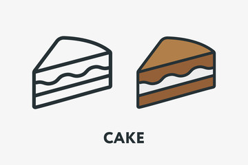 Sweet Chocolate Cake Dessert with Creme Pie Slice Piece Minimal Flat Line Outline Colorful and Stroke Icon Pictogram