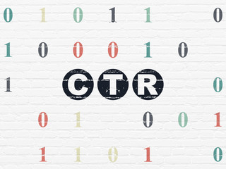 Business concept: CTR on wall background