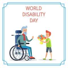 World Disability Day Boy Presents Bouquet of Flowers
