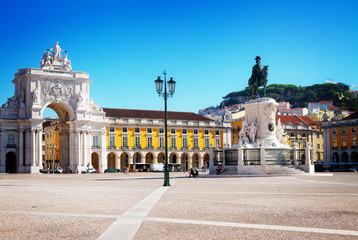 Commerce Square at sunny aummer day, Lisbon, Portugal, retro toned Wall mural