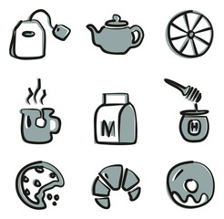 Tea Icons Freehand 2 Color