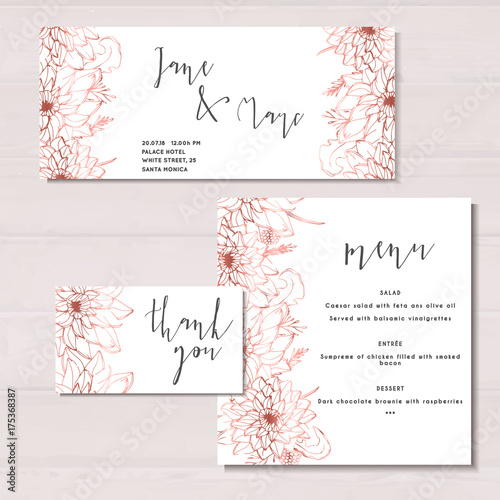 Wedding Invitation Template Marriage Rose Gold Flowers Hand Drawn