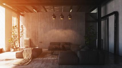 Sunlight in spacious loft living room