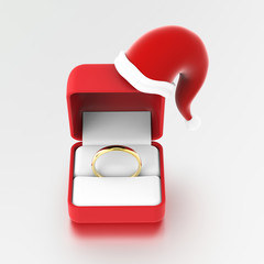 3D illustration gold engagement ring in the red box in Christmas Santa Claus hat