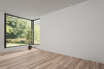 Unfurnished bright room with wooden parquet