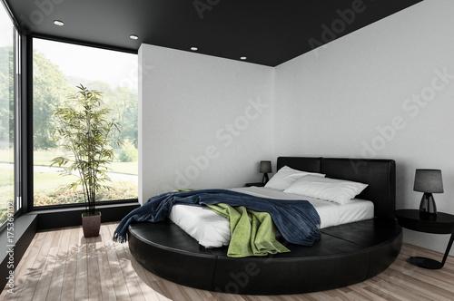Modernes Schlafzimmer in schwarzem Design\