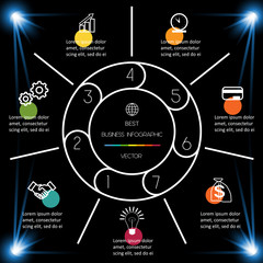 Best Infographic Template 7 position for information on dark background.