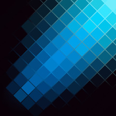 Blue Luminous Tiles in the Dark . Abstract Black Background . Template for your Design . Isolated Vector Illustration