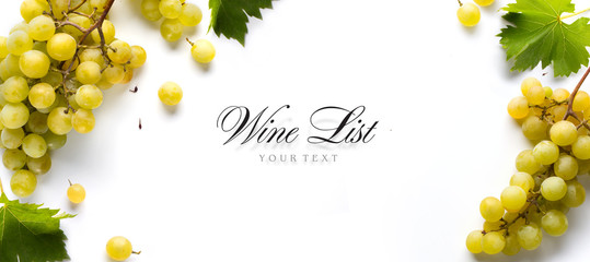 Papiers peints Vin wine list background; sweet white grapes and leaf