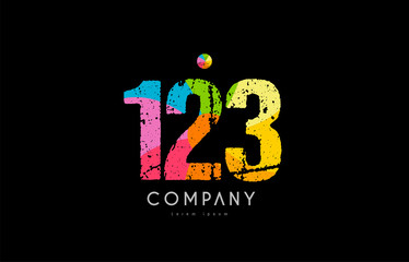 123 number grunge color rainbow numeral digit logo Wall mural