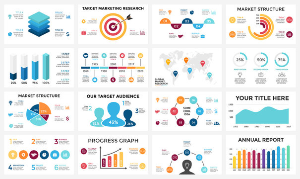 Marketing infographic, cycle diagram, global business graph, presentation chart. 3, 4, 5, 6, 7, 8 options, parts, steps, process. People audience report, target market, brain idea, world map timeline