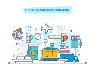 Logistics, transportation. Delivery air, train, ship, road transport, manual delivery.