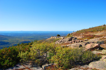 Top of the Cadillac Peak in Acadia National Park, Maine, USA.