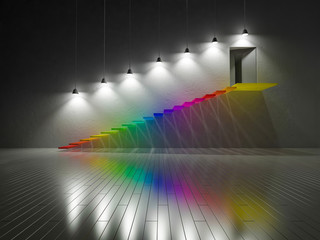 3d render of colorful stair built by glass