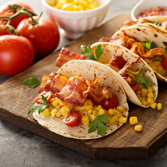 Breakfast tacos with scrambled eggs and bacon