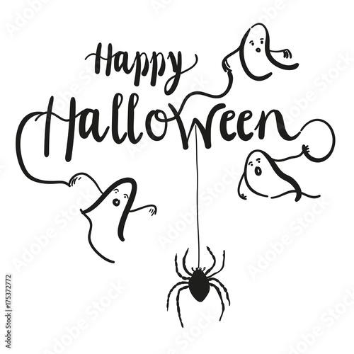 happy halloween s es oder saures kalligrafischer schriftzug mit gespenstern und spinne. Black Bedroom Furniture Sets. Home Design Ideas