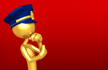 The Original Police Officer 3D Character Illustration In Contemplation