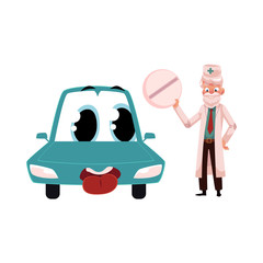 Old male doctor giving huge round pill to funny car character, cartoon vector illustration isolated on white background. Cartoon doctor curing car chatacter with pill, medicine, auto service concept