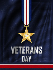 Veteran's Day. Congratulations on the veteran's day in the United states of America. Golden star on the ribbon. Wavy fabric with stars.  Vector illustration.