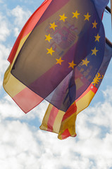 flags of spain, valencian community and europe
