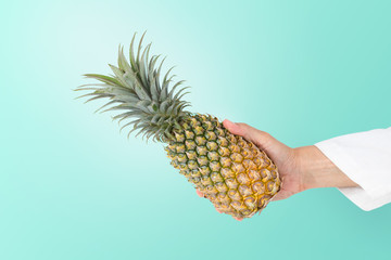 Hand holding ripe pineapple with leafs ,isolated tiffany blue backgroundand copy space.From fruit ,food ,salad to beverage ,pineapple are used around the world..