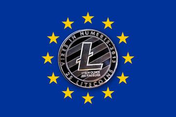 coin litecoin on the flag of the European Union