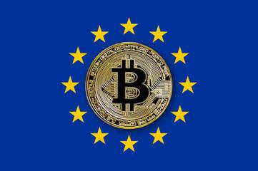 coin bitcoin on the flag of the European Union