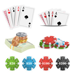 Casino Design Elements Vector. Poker Cards, Chips, Playing Gambling Cards. Lucky Night VIP Winner Isolated Illustration