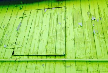 Chartreuse peeling paint detail shot