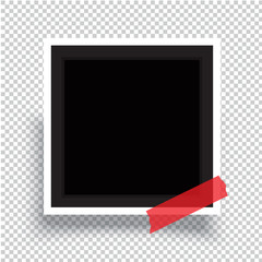 Realistic photo frame on sticky tape. Vector template photo design.