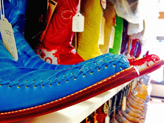 Mexican style festive colorful cowboy boots