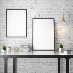 Mockup Poster in the interior, 3D illustration of a modern design, white brick wall