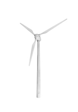 Wind power plant isolated on white background.