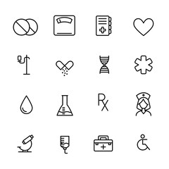 Simple collection of pharmacy related line icons.