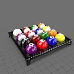 Billiard balls in holder