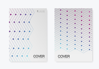 Brochure cover vector pattern. Repeating geometric tiles with dotted and line