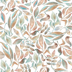 Seamless pattern with branches and leaves painted in watercolor, on a white background
