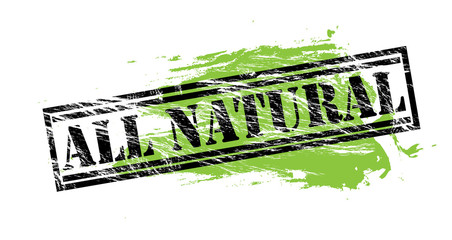 all natural black and green stamp on white background