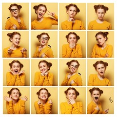 collage of young  woman different facial expressions