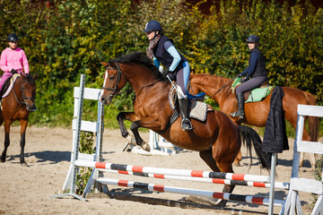 Equestrian training outdoors