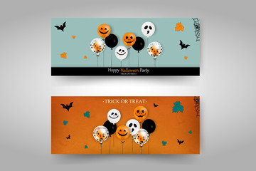 Happy Halloween banners set design. Trick or treat. Happy Halloween party. Cartoon halloween banners set. vector illustration