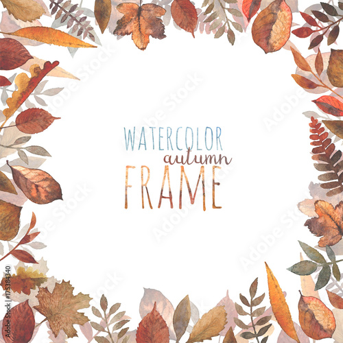 A frame of different kinds of autumn leaves painted in
