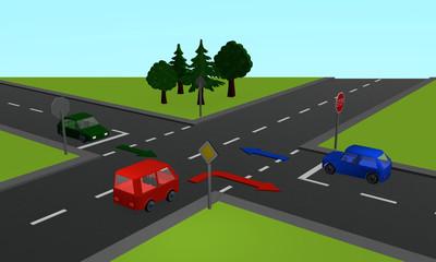 Verkehrssituation: Drei Autos an einer Kreuzung mit Stoppschild und Richtungspfeilen