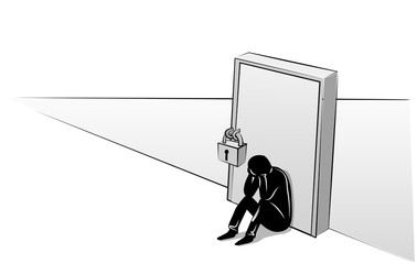 Depressed man sitting at the closed door