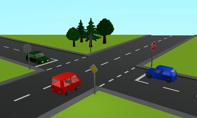 Verkehrssituation: Drei Autos an einer Kreuzung mit Stoppschild
